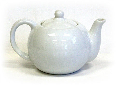 Hues & Brews White 20 Oz. Ivory White Teapot For One - 7.13""