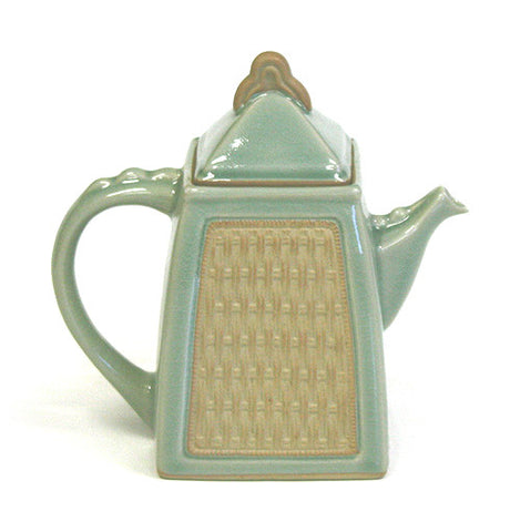 Hues & Brews Green Siam Celadon 40 Oz. Teapot - 8.5""