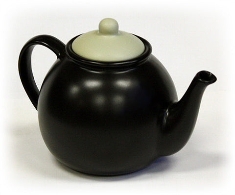 Hues & Brews 50 Oz. Matte Black Teapot w/ Dry Bone Lid 1