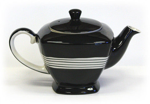 34 Oz. Hand Painted Teapot - Black w/ Ivory Accents
