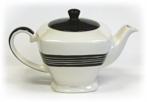 Hand Painted Teapot Ivory White Black Accents