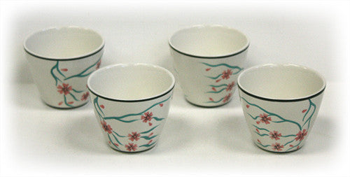 4 Piece 6 Oz. Cherry Blossoms Tea / Saké Cup Set by Hues & Brews