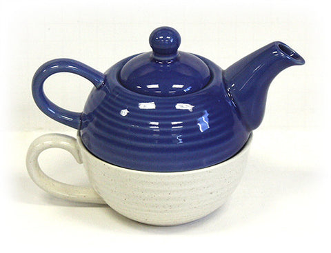 Hues & Brews Two-Tone Blue and Cream Tea For One Set - 7.25""