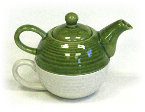 Hues & Brews Two-Tone Green and Cream Tea For One Set - 7.25""