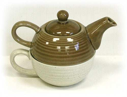 Two-Tone Tea For One Set by Hues & Brews (Brown/Cream)