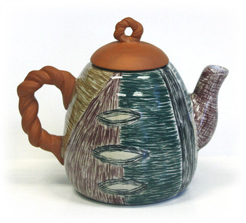 Hues & Brews Multi-color Hand Painted Harvest Tones 40 Oz. Teapot - 8.5""