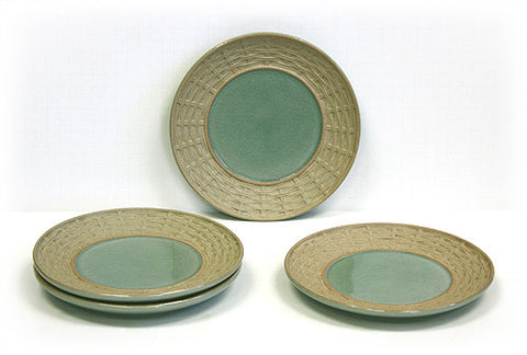4 Piece Green Siam Celadon Dessert & Snack Plates by Hues & Brews