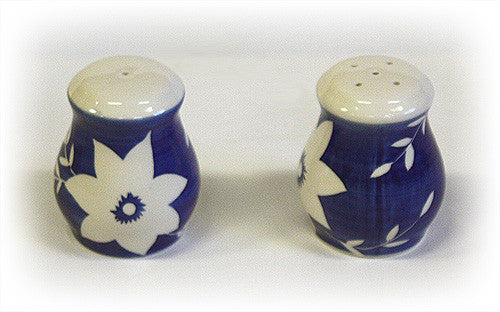Hues & Brews White Blossoms Salt & Pepper Shakers