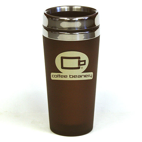 Coffee Beanery Double Wall Stainless Steel Travel Brown Beige Tumbler
