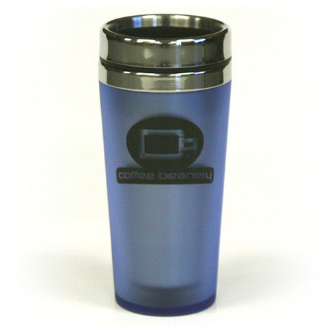 Coffee Beanery Double Wall Stainless Steel Travel Sky Blue Black Tumbler