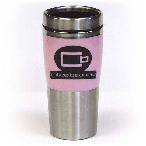 Coffee Beanery Double Wall Stainless Steel Travel  Pink Black Tumbler