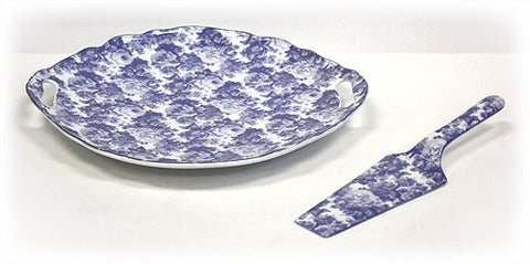 Hues & Brews White/Laura Blue Cakeplate and Server Set - 11.38""