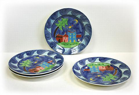 Hues & Brews 4 Piece Yellow Bird Village Plate Set