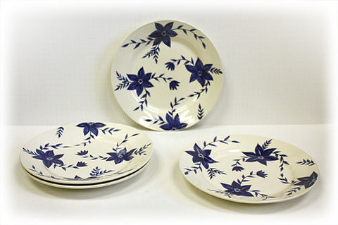 Hues & Brews 4 Piece White/Blue Blossoms Plate Set 1