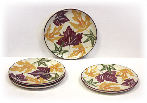 4 Piece Autumn Leaves Dessert & Snack Plates by Hues & Brews