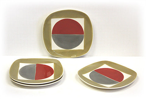 Hues & Brews 4 Piece Multi-Color Radius Dessert and Snack Plates 1