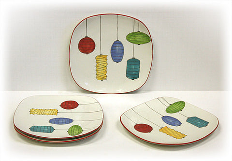 Hues & Brews 4 Piece Multi-Color Lanterns Dessert and Snack Plates 1
