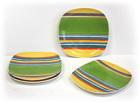 Hues & Brews 4 Piece Multi-Color Cabana Dessert and Snack Plates 1