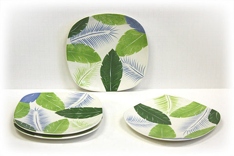 Hues & Brews 4 Piece Multi-Color Tropical Leaves Dessert and Snack Plates 1