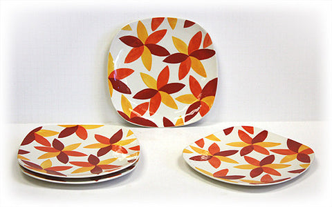 Hues & Brews 4 Piece Multi-Color Sunburst Flowers Dessert and Snack Plates 1