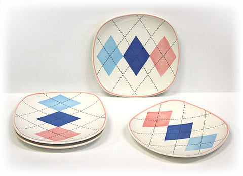Hues & Brews 4 Piece Multi-Color Argyle Dessert and Snack Plates 1
