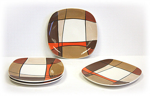 Hues & Brews 4 Piece Multi-Color Caramel Plaid Dessert and Snack Plates 1