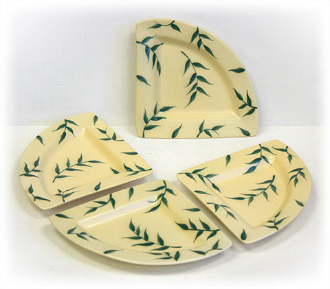 Hues & Brews 4 Piece Cream/Dark Green Just Leaves Triangular Corner Plate Set 1