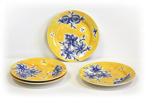 Hues & Brews 4 Piece Blue/Yellow Blueberry Blossoms Dessert and Snack Plates 1