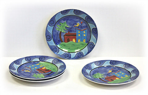 Hues & Brews Multi-Color 4 Piece Yellow Bird Village Dessert and Snack Plates - 8.38""