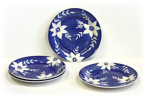 Hues & Brews 4 Piece Deep Blue/White Blossoms Dessert and Snack Plates 1