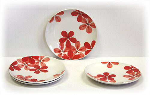 4 Piece Crimson Blossoms Dessert & Snack Plates by Hues & Brews