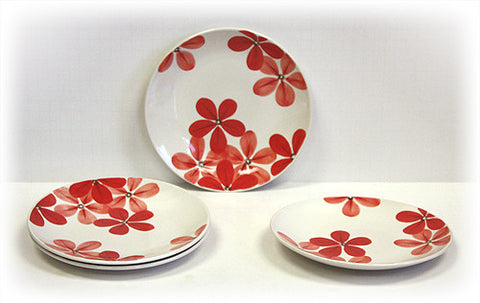 Hues & Brews 4 Piece White/Crimson Blossoms Dessert and Snack Plates 1