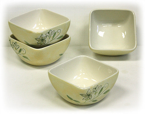 Hues & Brews 4 Piece Mellow Yellow Flora Soup/Cereal Bowls 1