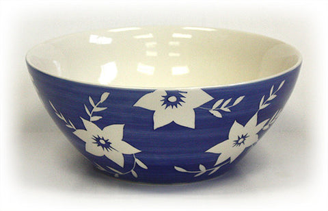 Hues & Brews Deep Blue/White Blossoms Bowl - 10""