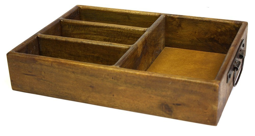 Mountain Woods 4 Section Merlot Vintage Style Brown Mango Wood Organizer Tray/Caddy w/ Metal Handles 1