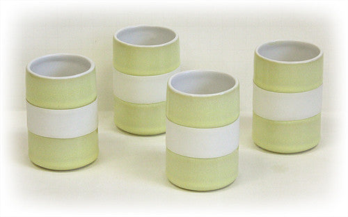 Hues & Brews 4 Piece 8 Oz. Bamboo Green Silicone Banded Mug Set 1
