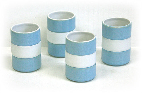 4 Piece 8 Oz. Silicone Banded Mug Set by Hues & Brews (Sky)