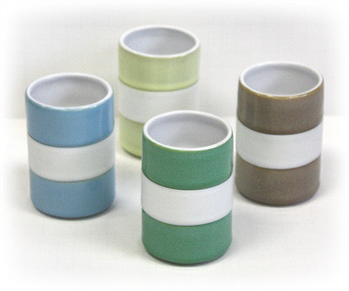 Hues & Brews 4 Piece 8 Oz. Earth-Toned Silicone Banded Mug Set 1