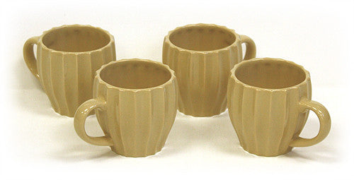 Hues & Brews 4 Piece 6 Oz. Sand Brown Textured Tea Mug Set 1