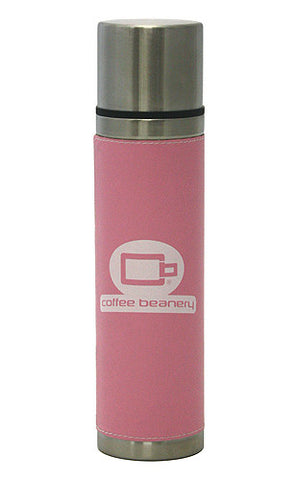 Hues & Brews 18 Oz. Coffee Beanery Leather Bound Double Wall Stainless Steel Pour & Sip Tumbler (PINK)