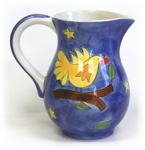 Yellow Bird Ceramic Pitcher