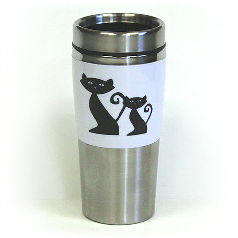 14 Oz. Cattitude Double Wall Stainless Steel Travel Tumbler by Hues & Brews - BPA Free, White/Black