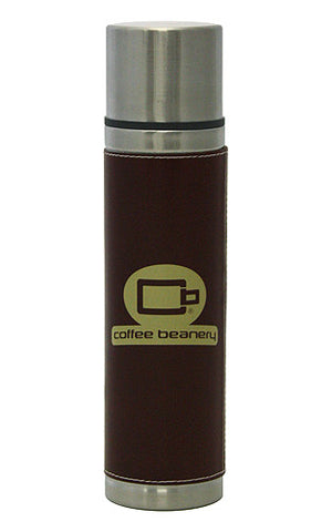 Coffee Beanery Leather Bound Double Wall Stainless Steel Pour and Slip Tumbler