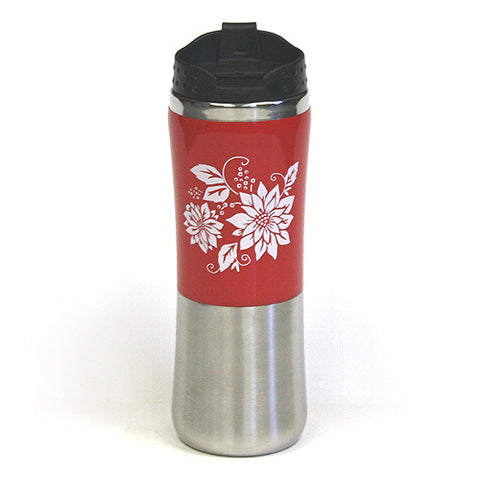 14 Oz. Poinsettia Double Wall Stainless Steel Travel Tumbler by Hues & Brews - BPA Free, Brown