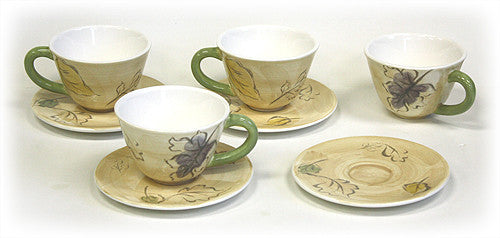8 Piece 9.5 Oz. Seasons Tea Cups & Saucers Set by Hues & Brews