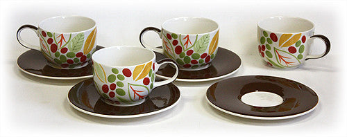 8 Piece 14 Oz. Kona Berries Latte Cups & Saucers Set by Hues & Brews