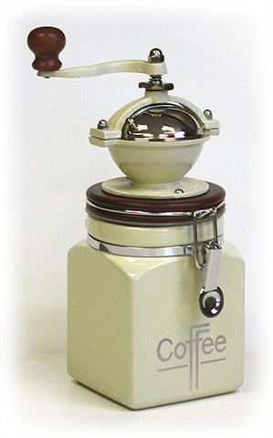 Hues & Brews Ivory White Canister Coffee Grinder 1