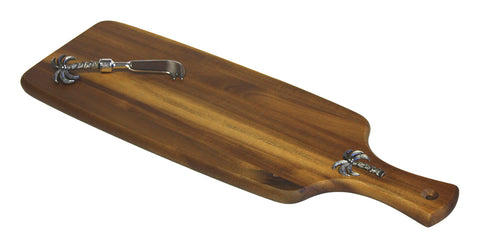 "Mountain Woods 20"" Palm Tree Acacia Hardwood Paddle Cutting / Serving Board & Spreader Knife Set"