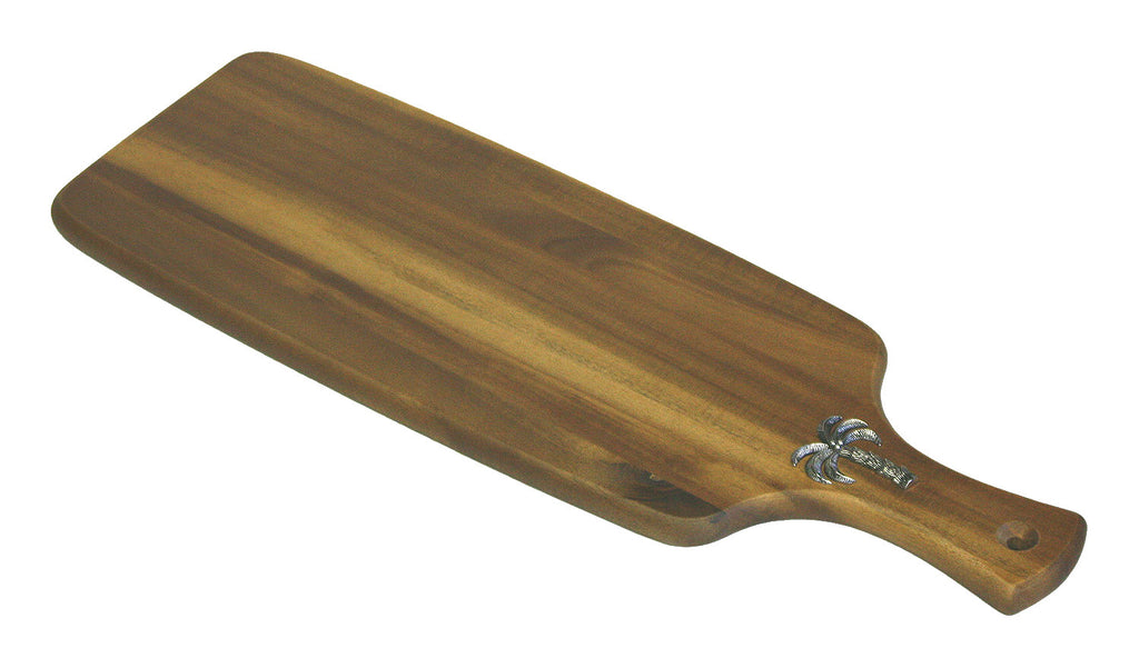 Mountain Woods Brown Palm Tree Acacia Hardwood Paddle Cutting and Serving Board 1