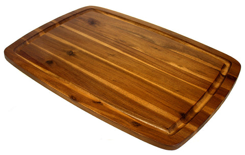 "Extra Large Organic Edge-Grain Hardwood Acacia Cutting Board, with Juice groove, Best Kitchen chopping Board (Butcher Block) for Meat, Cheese, & Vegetable Serving Tray with Carved-In Handles 20"" X 14"" X 0.75"""